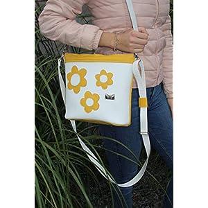 ein Sommertraum in Gelb-Weiß- Lederhandtasche Umhängetasche Damenhandtasche Crossover