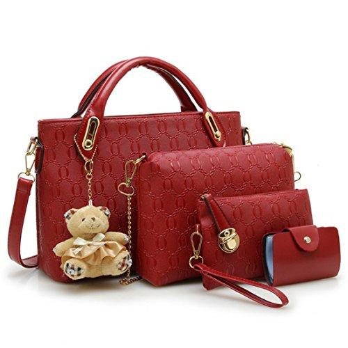 iTECHOR 4 Stück reine Farben-Prägung PU-Handtaschen -Schulter-Beutel-Geldbeutel -Karten-Beutel-Lash-Paket - Wine Red