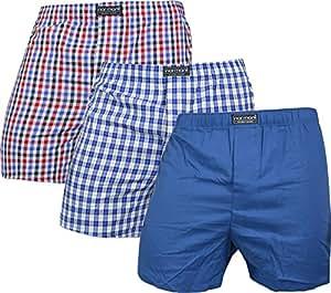 6 x 100% Baumwolle & lockere US Style Webboxer Boxershorts in frischen Farben und karierten Mustern für Herren Boxershort Boys Short Jungen Boxer Unterhose aus gewebtem Material Farbe Blau/Rot Größe S