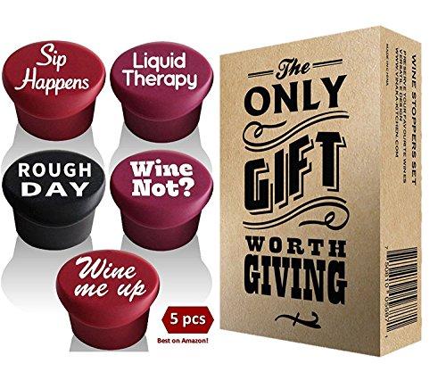 Weinstopfen, Weinzubehör zum Verschenken, lustige Silikon-Weinverschlüsse für Wein- und Bierflaschen, 5 Stück