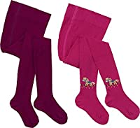 Kinderbutt pack of 2 tights pink/berry size 128/134