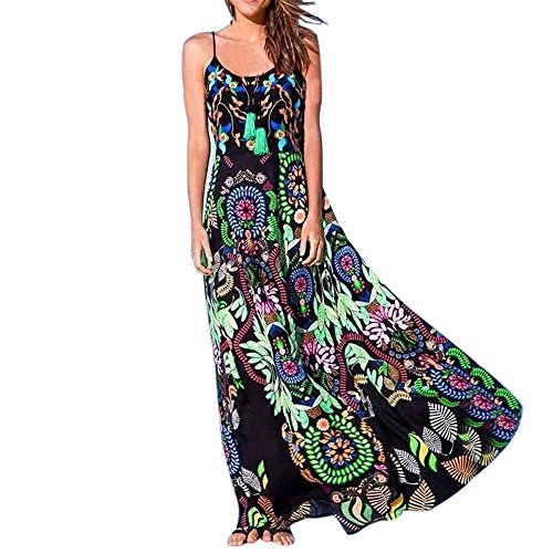 Yusealia Clearance Women Dresses On Sale Boho Floral Sexy Party Elegant Sleeveless Maxi Dress Cocktail Evening Prom Beach Long Dress for Summer