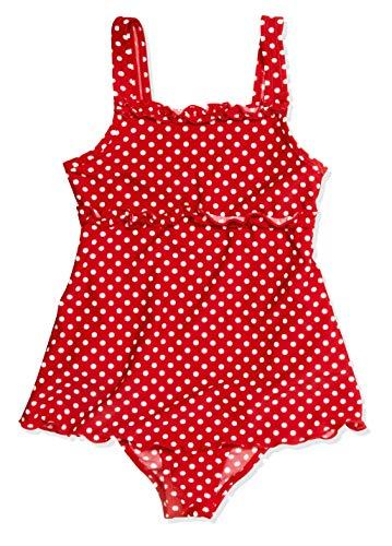 Playshoes Mädchen Badeanzug , gepunktet UV-Schutz nach Standard 801 und Oeko-Tex Standard 100 Badeanzug mit Rock in rot mit weißen Punkten 461035, Gr. 128, Rot(8 rot)
