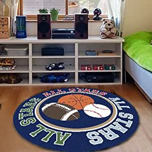 FADFAY textiles, Basketball Unique Home Tapis moderne rond, lavable, Rugby pour enfant Motif All Stars Children's Rugs