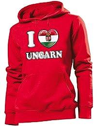 FANARTIKEL I LOVE UNGARN - Damen Hoodie Gr.S bis XL