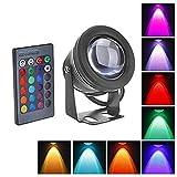 Mini Unterwasserbeleuchtung, Lunsy RGB IP67 Wasserdichte Unterwasserscheinwerfer, Garten Dekorative Teich Lampe Fernbedienung Schwarz