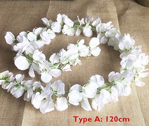 ficial Wisteria Flower Vine Silk Hydrangea Rattan DIY Wedding Birthday Party Decoration Wall Backdrop Flowers, Type A White 120cm ()