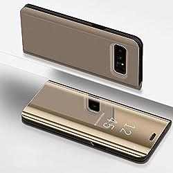 SainCat Coque Galaxy S6 Edge Plus Miroir Portefeuille, Ultra Slim Coque Cuir PU et Plastique Rigide Portefeuille Miroir Anti Choc Coque pour Samsung Galaxy S6 Edge Plus-Or
