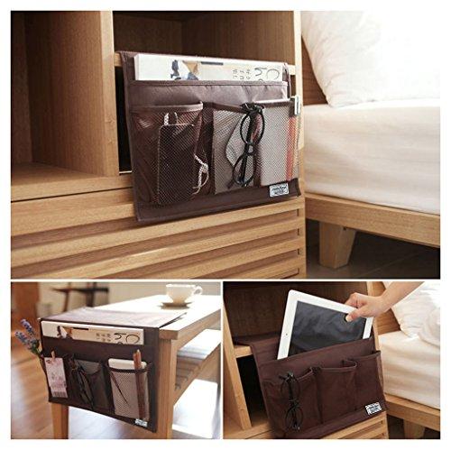 BXT - Tasca portaoggetti da appendere per letto, divano, comodino, camera, ufficio, cucina; ideale per riporre iPhone, iPad, riviste, libri, telecomando marrone marrone
