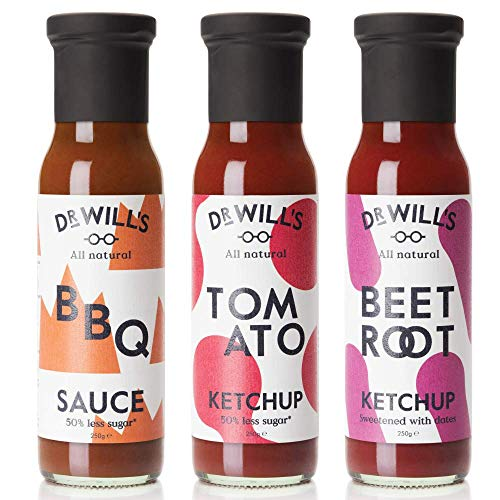 Dr Will's - All Natural Vegan Tomato Ketchup, Beetroot Ketchup and BBQ Sauce - 3 x 250g Bottles - Gluten Free & Dairy Free, Ideal for Keto Diet