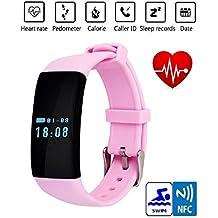 csmarte Original Stock Bluetooth SmartWatch Reloj Inteligente D21pulsera pulsera banda corazón tasa SmartBand actividad Tracker Fitness para iOS Android, color rosa