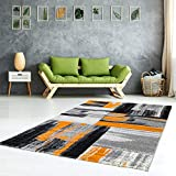 Alfombra diseño Moderno salón Swing Degradado Naranja Gris Negro, Orange Grau, 160 cm_x_230 cm