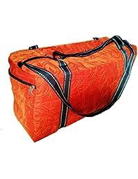 Artvalleys Shiny Orange Printed 24 Litre, Highly Durable, Velvet Duffel Comfortable Travel Bag Size M