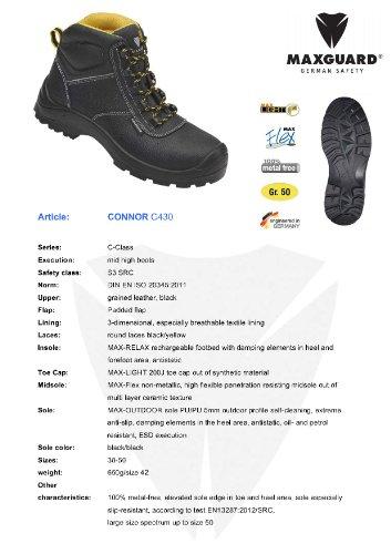 Maxguard C430, Chaussures de sécurité Homme - Noir/jaune