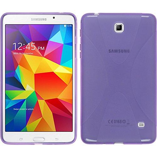 PhoneNatic Case kompatibel mit Samsung Galaxy Tab 4 7.0 - lila Silikon Hülle X-Style + 2 Schutzfolien - Samsung Case Lila Galaxy 2 Tab
