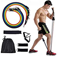 SKY-TOUCH Portable Exercise 11Pcs Resistance Band Set Stackable Up to 150 Lbs (5 Stackable Exercise Bands with Door Anchor, Ankle Straps Carrying Case) Exercise Stretch Fitness Home Set
