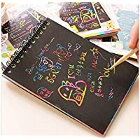 Kelaina Elegante Color DIY Lindo Bobina boceto Graffiti Notebook Black Page Libro mágico boceto Pintura Bloc de Notas