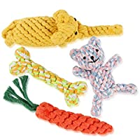 WOT I Dog Rope Toys, Dog Chew Toys Set of 4, Durable Cotton Dog Toys for Small and Medium Dogs, Playing-Dog Rope Toy for Training Tug-of-War