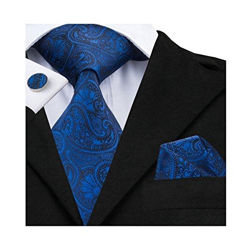 Hi-Tie, Seiden-Krawatte für Herren mit Manschettenknöpfen und Taschentuch Gr. One size, blau (1)
