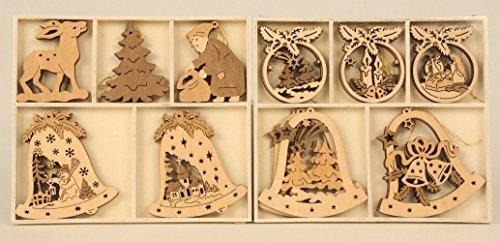 15 teiliges Set Holz Anhänger bis 8 cm Kranz Reh Weihnachtsmann Glocke Tanne Weihnachtsbaum Deko Weihnachten