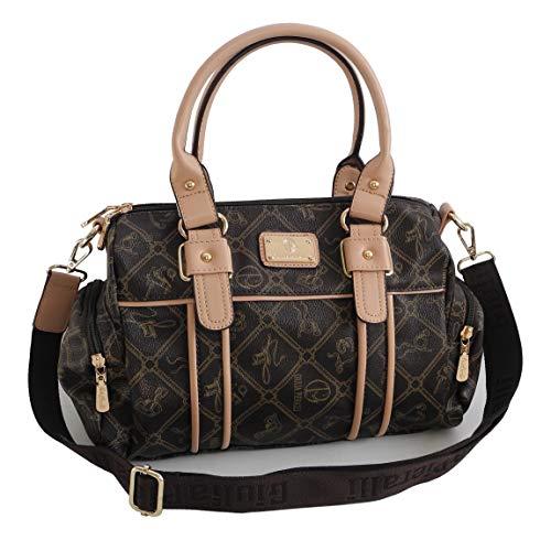 Damentasche von Giulia Pieralli - Damen Glamour Handtasche Handbag Tasche Henkeltasche Bowling Tasche Umhängetasche ( Coffee-Beige ) präsentiert von ZMOKA®