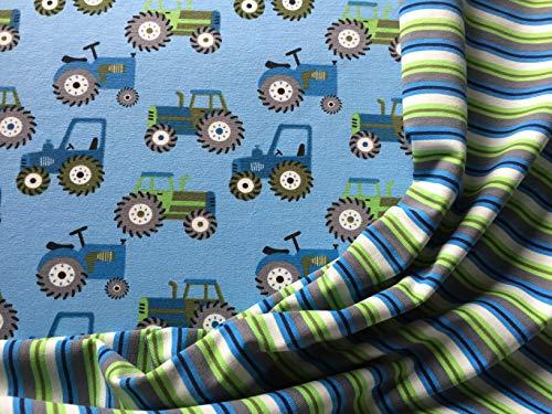 Jersey Stoffpaket (2x05m): Traktoren Motivstoff und Mini Ringeljersey als Kombipartner in grün blau weiß Jungs Jungen Kinder Kinderstoff Meterware Ökotex