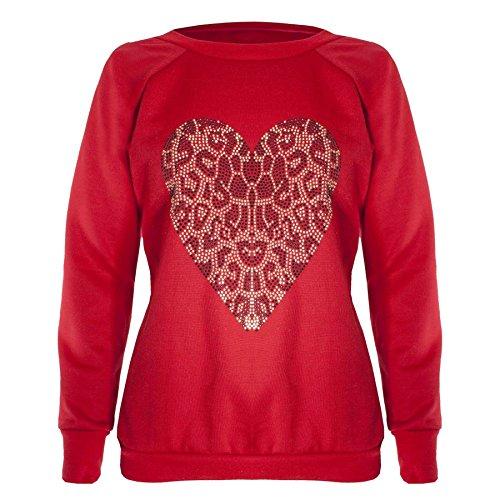 Clous Femme-Tête de mort-croix de Paix Sweat-shirt Manches longues Décontracté - Heart Red - Sweater Jogsuit Jogging suit