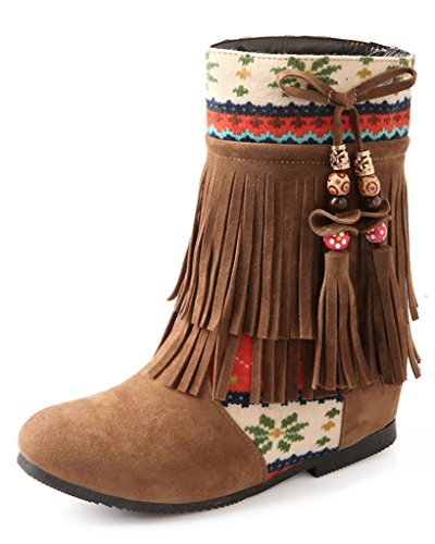 Minetom Damen Herbst Winter Wulstige Fringed Stiefel Nubukleder Stiefeletten Flache Schuhe Schneestiefel Gelb