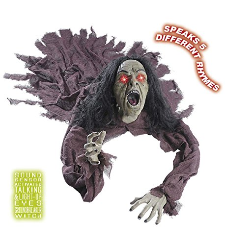 Sprechende leuchtende Horror Dekoration Hexe Hexer Halloween (Die Halloween Dekoration Für Geisterbahn)