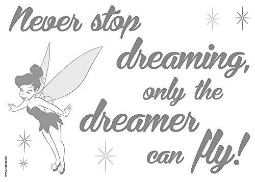 Komar - Disney - Deco-Sticker NEVER STOP DREAMING - Wandtattoo, Wandsticker, Wandaufkleber, Wandbild, Thinker Bell, Elf, Fee, Dream, Zitat -  14001h - Zitate Wandtattoos Disney