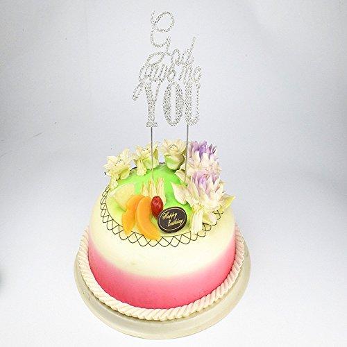 Lanlan Hochzeit Tortenaufsatz God Gave Me Sie Kristall Strass Cake Topper Party Dekoration für Hochzeit oder besondere Anlässe silber