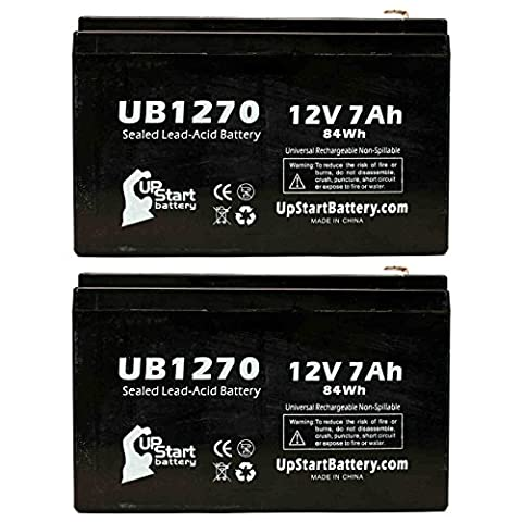 2x Pack - Replacement APC RBC12 Battery - Replacement UB1270 Universal Sealed Lead Acid Battery (12V, 7Ah, 7000mAh, F1 Terminal, AGM, SLA) - Includes 4 F1 to F2 Terminal Adapters