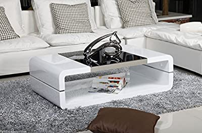 NEW Modern ALEXIS Designer Rectangle High Gloss & Black Glass Coffee Table - low-cost UK coffee table shop.