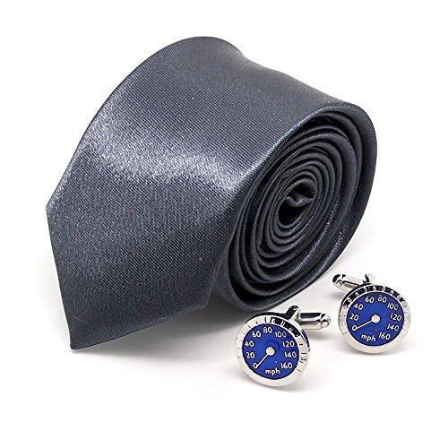 """Cravate slim étroite gris-foncé et boutons de manchette""""compteur de voiture"""""""