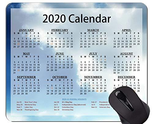 Kalender 2020 mit Feiertags-Spiel-Mausunterlage Gewohnheit, Himmel-Weiß-Wolken-Mausunterlagen