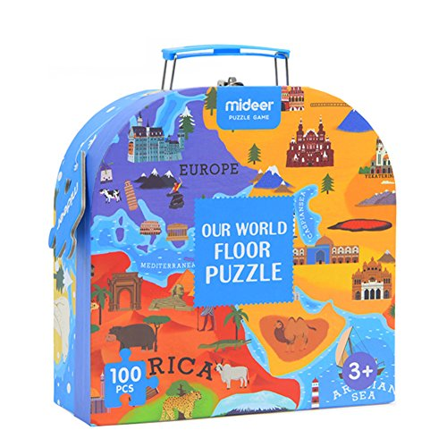 Eleganantamazing - Puzzle with World Map for children, Educational toys, Culture, Geography recognition, Gift Toy 100 Pieces / Set