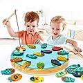Lewo 2 en 1 Juego de Pesca 30 PCS Alfabeto Magnético de Madera Carta de Pesca Juguetes para 2 3 4 Años de Edad Niñas Niños Pequeños Cumpleaños Aprendizaje Educación Juguetes de Lewo