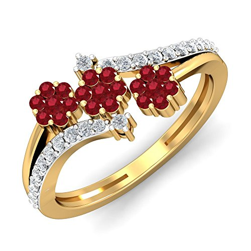 KuberBox 18KT Yellow Gold, Diamond and Ruby Ring for Women