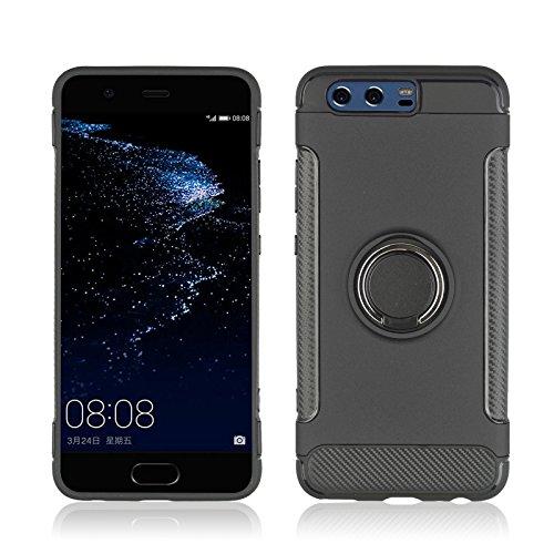 Kompatibel mit Huawei P10 Schutz Huawei P10 Plus Hart Hülle Rüstung Magnetische Autohalterung Handyhülle Anti-Rutsch Schutz Anti-Fingerabdruck Hardcase (Schwarz, Huawei P10)