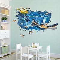 Pegatinas de pared 3D Sala de estar Dormitorio Decal Dibujos animados Niños Adolescentes Niños Sala de niños Murales de pared de arte Wallpaper Poster (Tortuga)