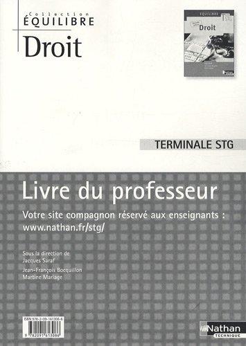 Droit terminal STG : Livre du professeur par Jacques Saraf