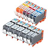 #6: 12 Pack - Compatible Ink Cartridges for Canon PGI-220 CLI-221 PGI-220BK CLI-221BK CLI-221C CLI-221M CLI-221Y Inkjet Cartridge Compatible With Canon PIXMA IP3600 PIXMA IP4600 PIXMA IP4700 PIXMA MP540 PIXMA MP560 PIXMA MP620 PIXMA MP620B PIXMA MP640 PIXMA MP640R PIXMA MP980 PIXMA MP990 PIXMA MX860 PIXMA MX870 4 Large Black 2 Small Black 2 Cyan 2 Magenta 2 Yellow Ink Toner 4 You