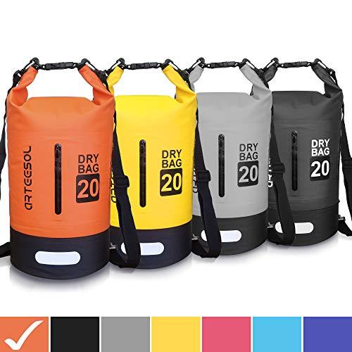arteesol Dry Bag - Waterproof trockener Beutel/Sack wasserdichte Tasche mit Langem justierbarem Bügel für Kayaking Boots-Ausflug Kanu/Fischen/Rafting/Schwimmen/Snowboarding (Orange und Schwarz, 30L)