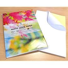 50hojas de calidad A4blanco mate autoadhesivo etiqueta de/parte trasera adhesiva impresión hoja de papel