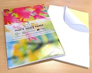 EVG Home & Office Supplies Lot de 50feuilles de papier autocollantes - Idéal pour l'impression d'étiquettes - Blanc mat - FormatA4