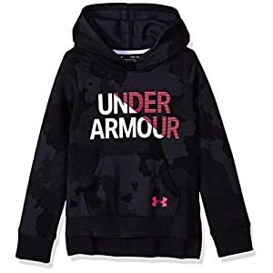 Under Armour Rival Hoody Warm-up Top - Black/Penta Pink, Youth X-Small