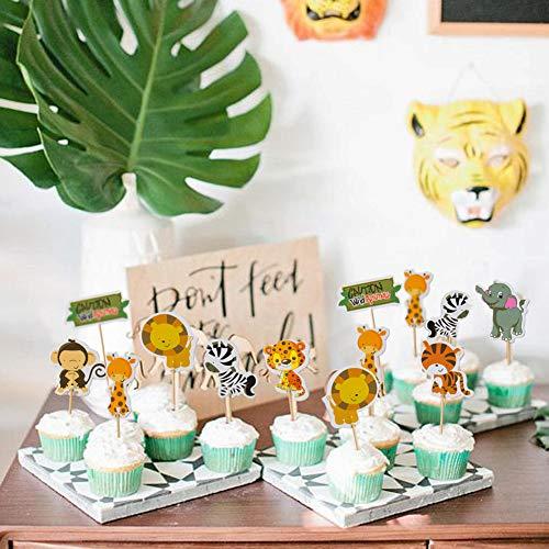 SUNBEAUTY 24 Tiere Cake Toppers Safari Kuchen Dekoration Cupcake Picks Kindergeburtstag Deko (Safari Cupcake Toppers)