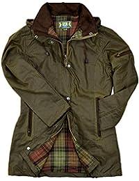 Damen-Wachsjacke New Ashdown | Robuste wind- und wasserdichte, tailliert geschnittene Regenjacke für jeden Anlass | Inklusive Kapuze