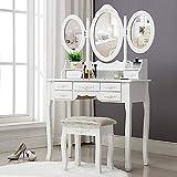 Outwin Bureau de Maquillage Coiffeuse Blanche avec Tabouret et Miroir Shabby Chic Table de Maquillage en Bois Massif 7 tiroirs 3 miroirs