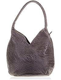 FIRENZE ARTEGIANI.Borsa shopping bag donna vera pelle. Borsa donna cuoio autentico inciso Camoscio intrecciato geometrico e laccato.MADE IN ITALY. VERA PELLE ITALIANA
